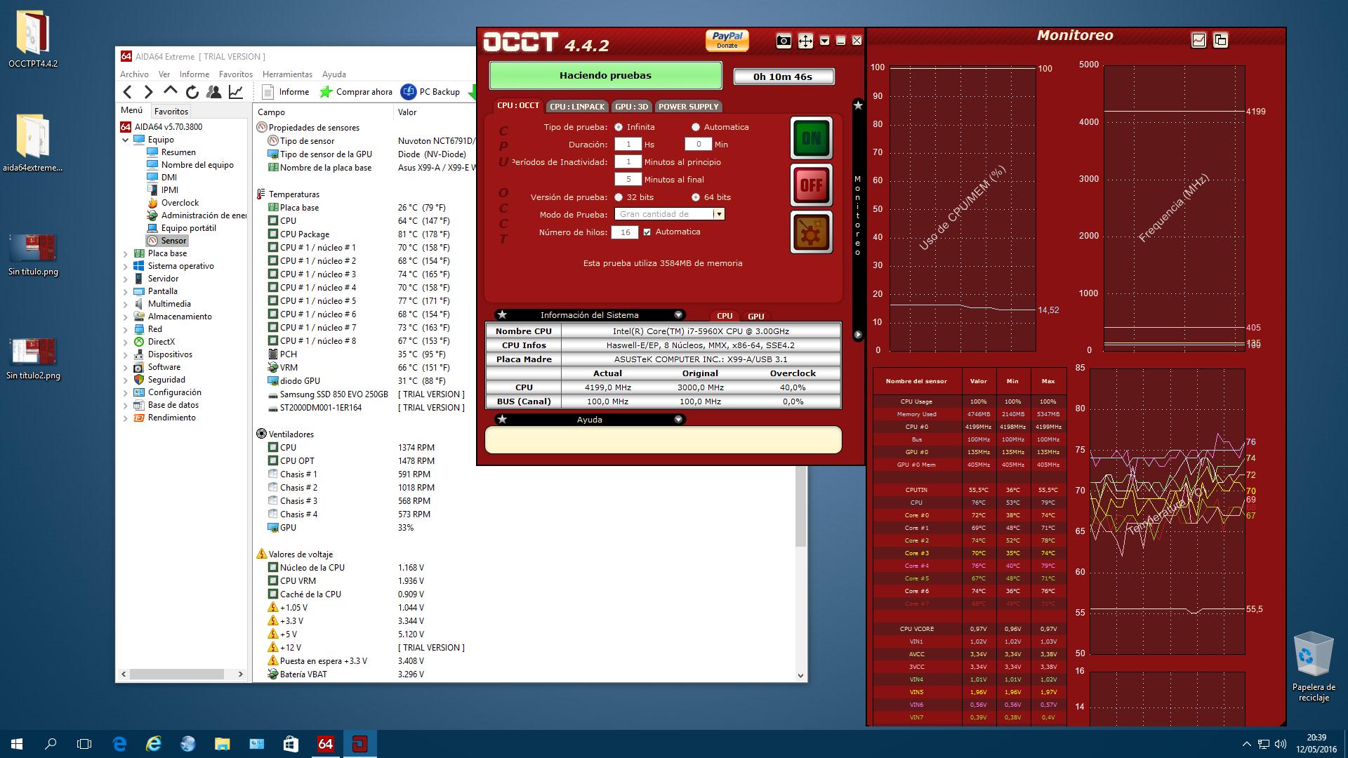 OVERCLOCK 5960X 4200Mhz +0,15v 2x1400RPM Macho X2